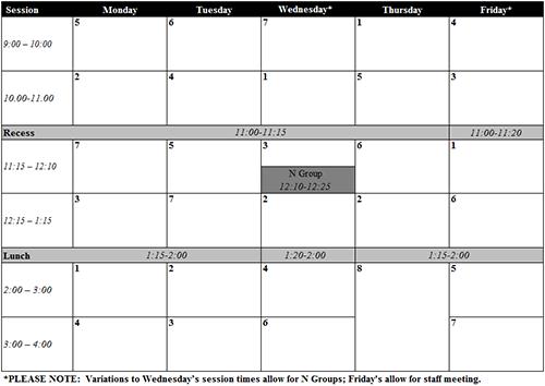 NARC Timetable